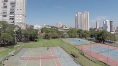 Aerial view from a Tennis Court in Sao Paulo, Brazil Stock Footage