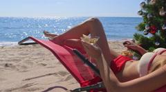 Dolly: Bikini beauty tropical Christmas beach vacations Stock Footage