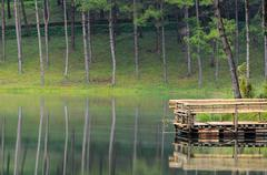 pang ung, beautiful forest lake in the morning - stock photo