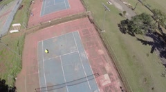 Aerial view from a Court Tennis Game in Sao Paulo, Brazil Stock Footage