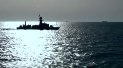 Egypt the Suez Canal 074 warship in bright reflective water surface at open sea Stock Footage