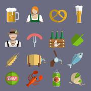 Beer icons set flat - stock illustration