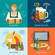 Beer flat set - stock illustration