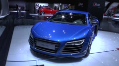 Audi R8 LMX the world's first serial car with lasers lights - stock footage