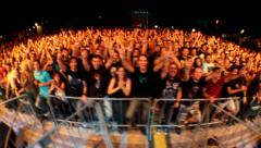 Concert Crowd in Spain after the show - stock footage