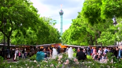 Outdoor flea market in the Bastille district of Paris, France. Stock Footage