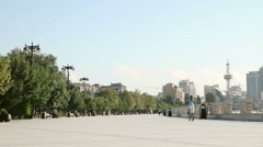 Empty Baku Boulevard in the morning Stock Footage