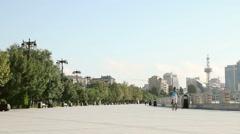 Empty Baku Boulevard in the morning Stock Footage