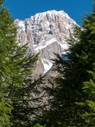 the southern side of mont blanc massif - stock photo