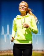 smiling woman jogging outdoors - stock illustration