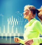 smiling woman doing running outdoors - stock illustration
