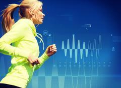 woman doing running outdoors - stock illustration