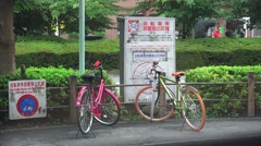 Colorful Japanese Bike In No Bicycle Parking Zone 4K Stock Footage