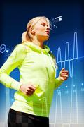 fit woman doing running outdoors - stock illustration