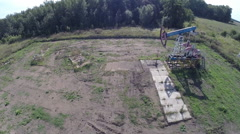 Not working oil pumps (rocker). aerial view Stock Footage
