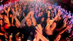 Amazing concert crowd after the show cheering Stock Footage