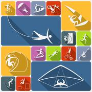 Extreme sports icons flat - stock illustration