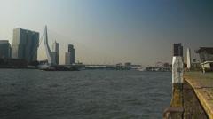 River Maas Rotterdam and Erasmusbridge Stock Footage