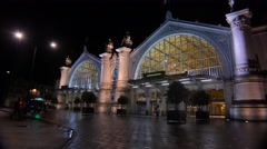 Exterior of a French railway station at night. Stock Footage