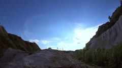 Hiking woman in Grand Canyon. Strong happy woman tourist is reaching the point Stock Footage