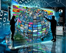Sphere and silhouettes Stock Illustration