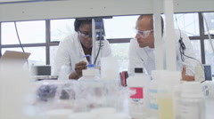 Science Lab and scientists working on cosmetics, medicines and food analysis Stock Footage