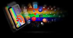 Abstraction of the tablet and icons Stock Illustration