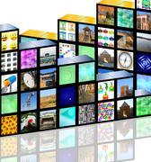 cubic media - stock illustration