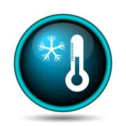 snowflake with thermometer icon - stock illustration
