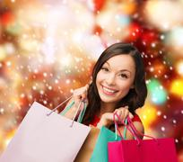 Woman in red dress with shopping bags Stock Illustration