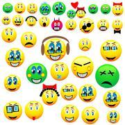 many emoticons - stock illustration