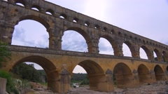 The beautiful Pont Du Gard aqueduct in France. - stock footage