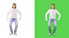 Stylish man dancing in the style of woggy in white gloves and tall. Stock Footage