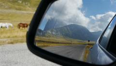 Driving mirror reflecting travel road in the rear with horses walking aside Stock Footage