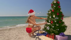 Christmas beach vacations Stock Footage