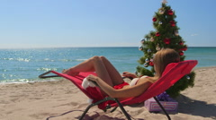 Christmas beach holidays background Stock Footage