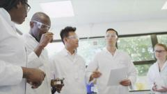 Science Lab and scientists working on cosmetics, medicines and food analysis - stock footage
