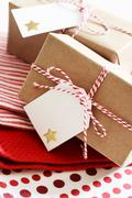 Handmade present boxes with tags Stock Photos