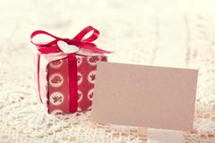 Present boxes and blank message card Stock Photos