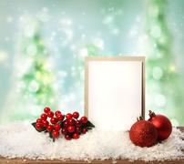 Message card with christmas ornaments Stock Photos