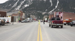 Stock Video Footage of Silverton Colorado street and traffic historic mining town 4K 150