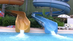 Father and son in aqua park Stock Footage