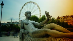 Statues from Jardin des Tuileries with Ferris Wheel in Paris,time lapse,4k Stock Footage
