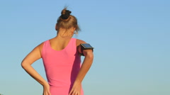 Workout fitness injuries young woman with lower back pain during exercise Stock Footage