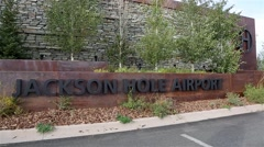 Jackson Hole Airport Sign Stock Footage