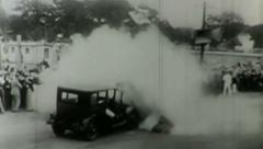 1930's cars crashing--From film - stock footage