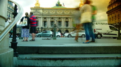 rush hour in Paris,view of the Opera Garnier,Time lapse view. - stock footage