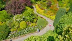 4K Top Down View of the Sunken Gardens Stock Footage