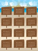 2015 calendar design with wooden signs Stock Illustration