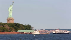 Statue Of Liberty Cruises Stock Footage